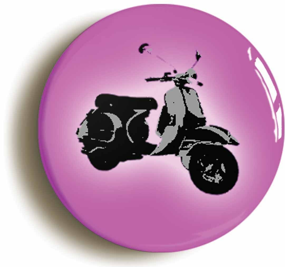 pink mod scooter badge button pin (size is 1inch/25mm diameter) retro sixties