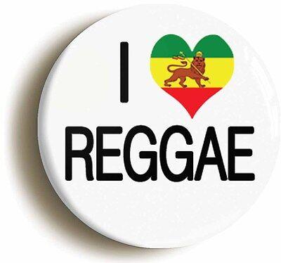 i heart love reggae badge button pin (1inch/25mm diameter) jamaica rastafarian