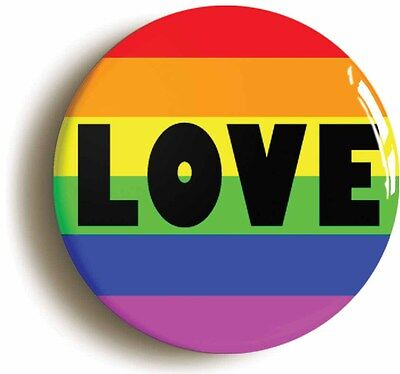 rainbow love badge button pin (size is 1inch/25mm diameter) lgbt pride diversity