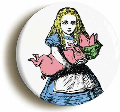 alice in wonderland badge button pin piglet (size is 1inch/25mm diameter)
