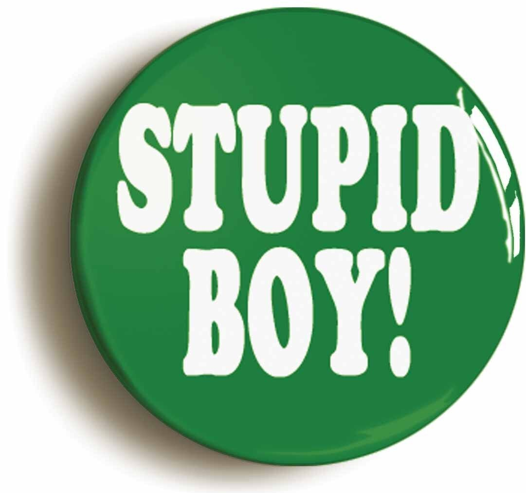 stupid boy funny badge button pin (size is 1inch/25mm diameter) seventies 1970s