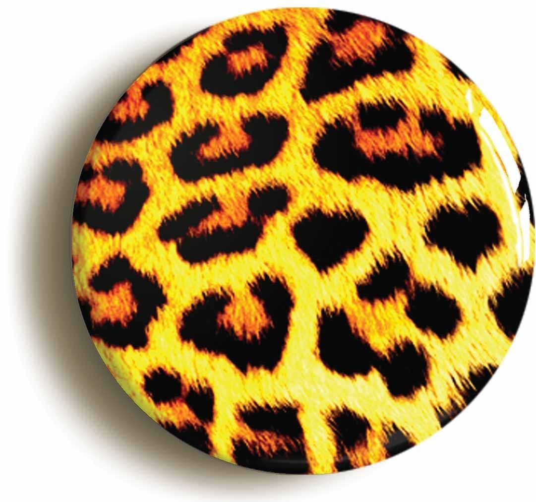 leopard skin print retro badge button pin (size is 1inch/25mm diameter) punk
