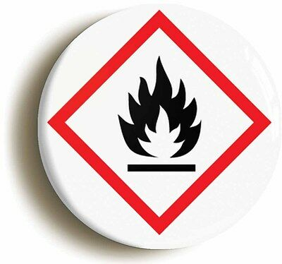 science hazard flammable badge button pin (size is 1inch/25mm diameter) geek