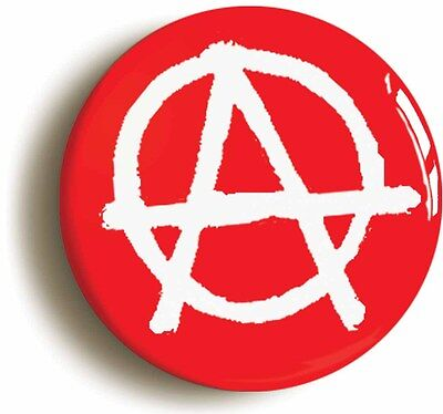 anarchy punk badge button pin red (size is 1inch/25mm diameter)