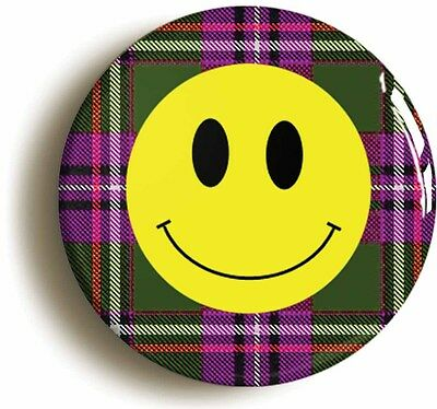 tartan smiley acid house eighties badge button pin (size is 1inch/25mm diameter)