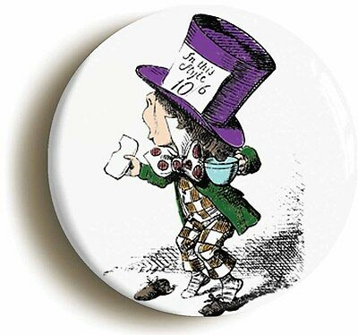 mad hatter alice in wonderland badge button pin (size is 1inch/25mm diameter)