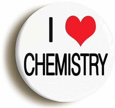 i heart love chemistry badge button pin (1inch/25mm diametr) science geek chic