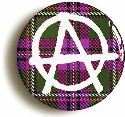 scottish tartan anarchy punk badge button pin (size is 1inch/25mm diameter)
