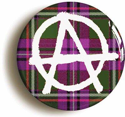 scottish tartan anarchy punk badge button pin (size is 1inch/25mm diameter)