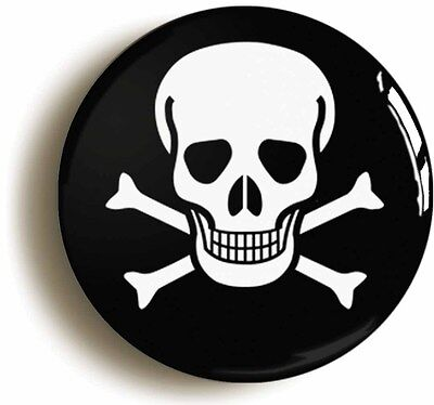 skull and cross bones badge button pin (1inch/25mm diameter) punk pirate emo