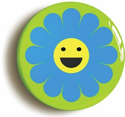 happy flower retro badge button pin (1inch/25mm diameter) hippie sixties 1960s