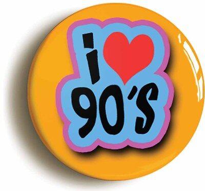 i heart love 90's retro nineties badge button pin (1inch/25mm diameter) 1990s