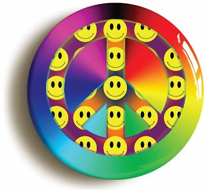 smiley peace retro badge button pin (1inch/25mm diamt) 1980s acid house rave