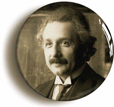 albert einstein badge button pin (size 1inch/25mm diameter) science relativity