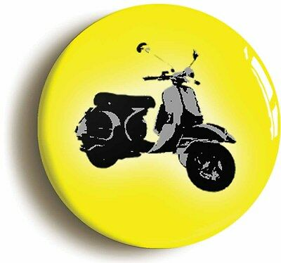 vespa badge button pin yellow mod scooter retro sixties (1inch/25mm diameter)