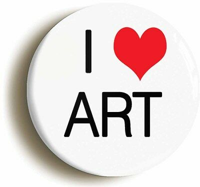 i heart love art badge button pin (1inch/25mm diameter) school college pupil