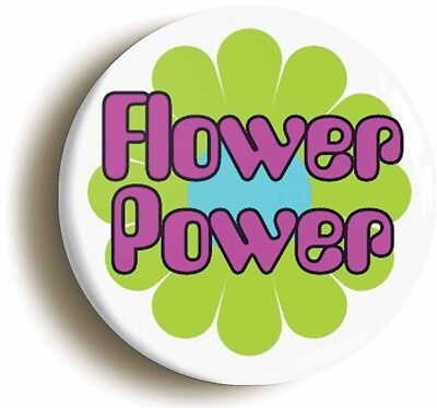 flower power badge button pin (1inch/25mm diameter) hippie sixties retro 1960s