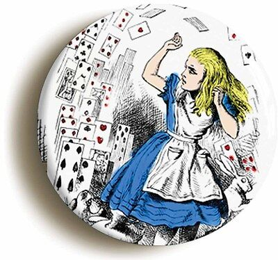 alice in wonderland badge button pin (size 1inch/25mm diameter) lewis carroll