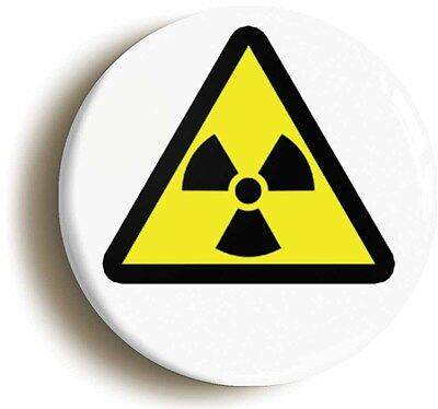 radioactive hazard symbol badge button pin (1inch/25mm) science geek chic emo