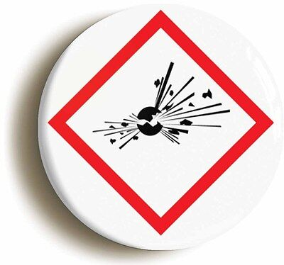 science hazard explosive badge button pin (size is 1inch/25mm diameter) geek