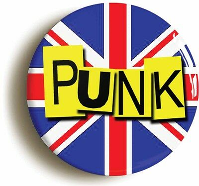 punk badge button pin union jack flag retro seventies (size is 1inch/25mm diam)