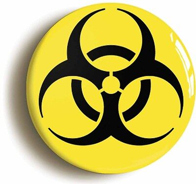 biohazard toxic science badge button pin (size is 1inch/25mm diameter) geek nerd