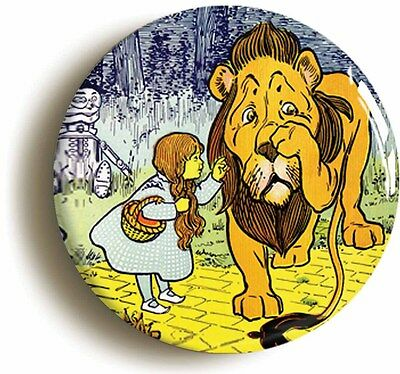 cowardly lion & dorothy wizard of oz badge button pin (size 1inch/25mm diameter)