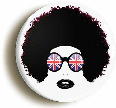 disco badge button pin retro afro hair girl (1inch/25mm diametr) 1970s seventies