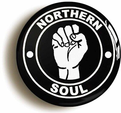 northern soul badge button pin - white fist on black - 1inch/25mm diameter