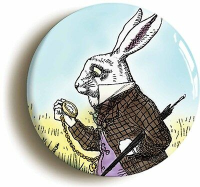 alice in wonderland - white rabbit badge button pin (1inch/25mm) lewis carroll