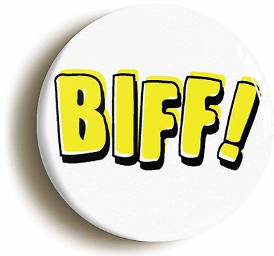 biff! comic superhero pop art badge button pin (1inch/25mm diameter) geek nerd
