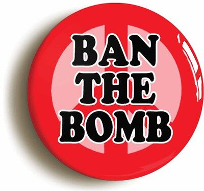 ban the bomb badge button pin cnd peace sixties 1960s (size 1inch/25mm diameter)