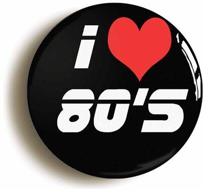 i love 80s retro badge button pin (1inch/25mm diameter) heart eighties 1980s