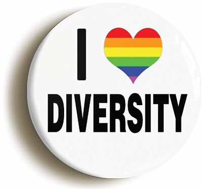 i heart love diversity badge button pin (size is 1nch/25mm diameter) lgbt pride