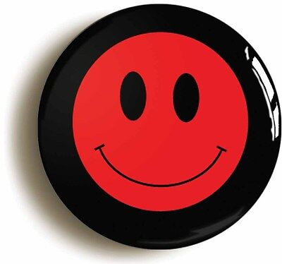 red smiley acid house eighties badge button pin (size is 1inch/25mm diameter)