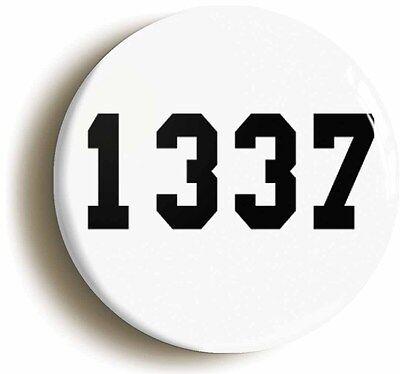 1337 - leet badge button pin (1inch/25mm diam) computing techie geek nerd chic