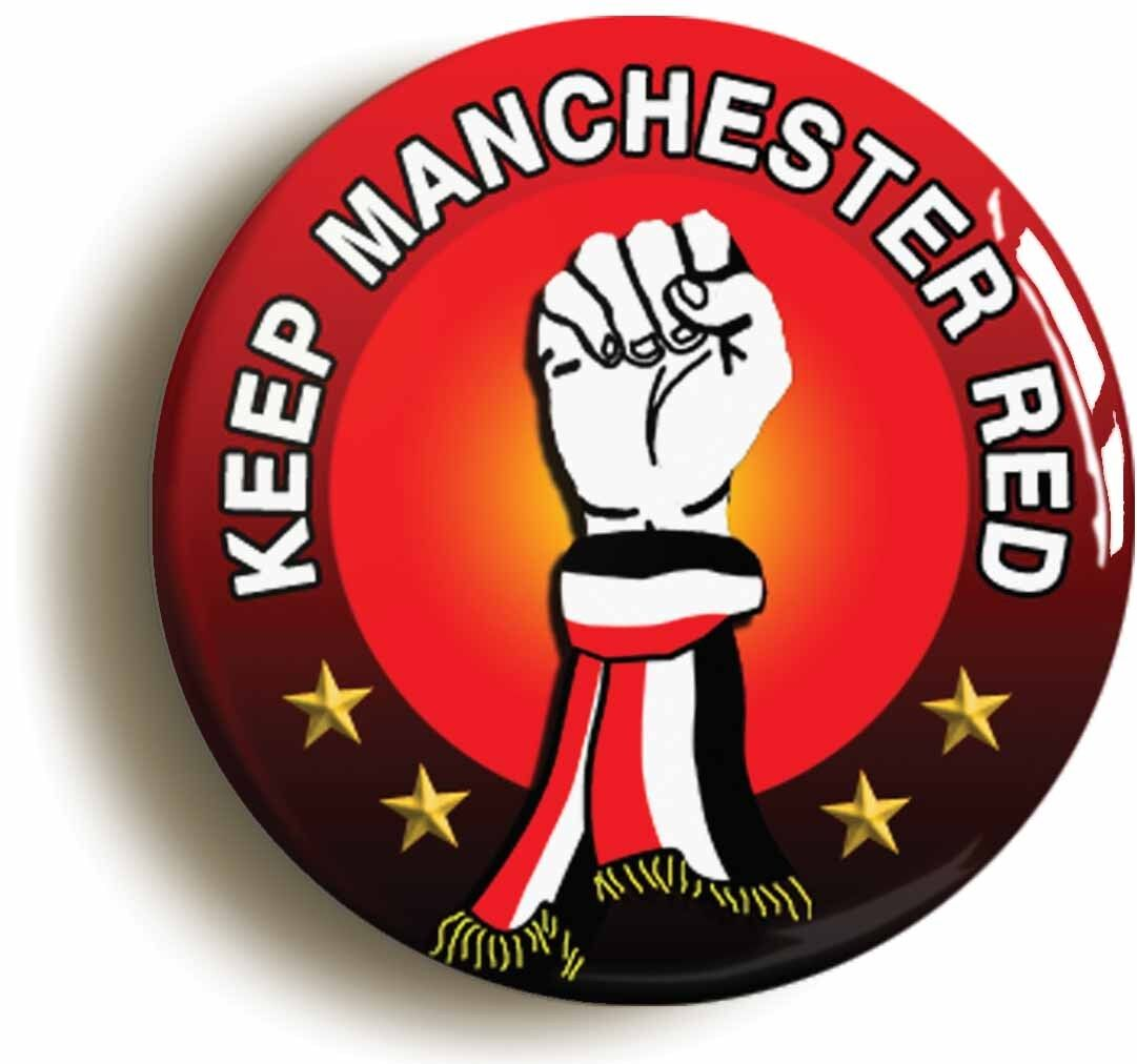 keep manchester red badge button pin (size is 1inch/25mm diameter) northern soul