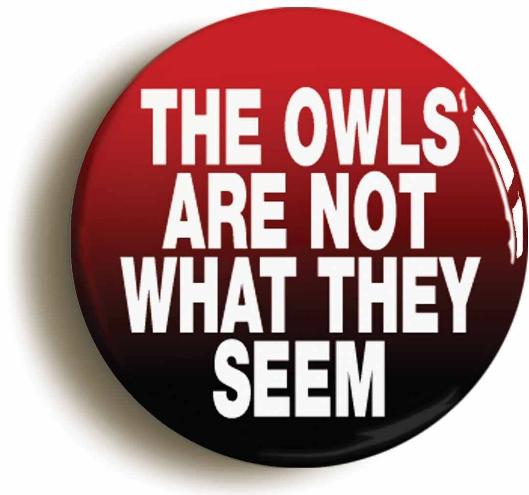 owls are not what they seem badge button pin (size is 1inch/25mm diameter)