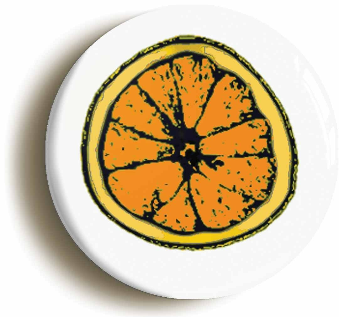 orange slice logo badge button pin (size is 1inch/25mm diameter)