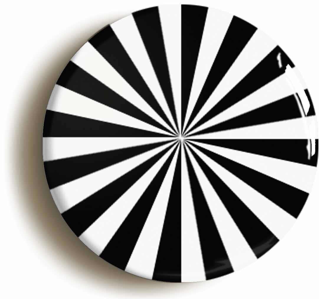 psychedelic monochrome sixties badge button pin (size is 1inch/25mm diameter)
