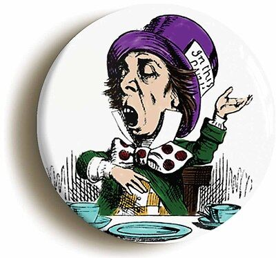 alice in wonderland mad hatter badge button pin (1inch/25mm diameter) carroll