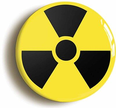 radioactive nuclear science badge button pin (size is 1inch/25mm diameter) geek
