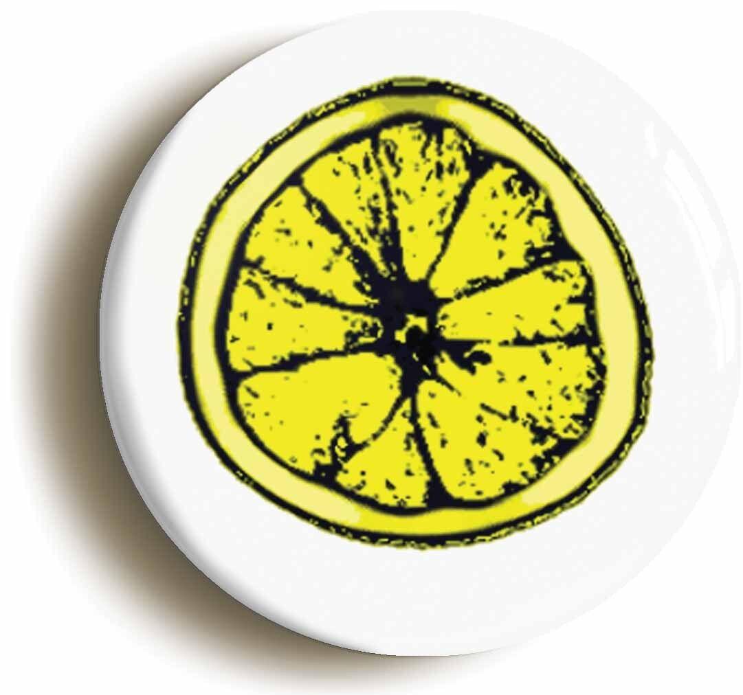 lemon slice logo badge button pin (size is 1inch/25mm diameter)