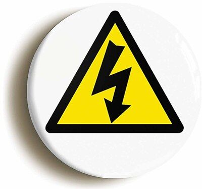 electrical hazard badge button pin (size is 1inch/25mm diameter) science geek