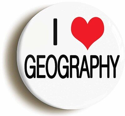 i heart love geography badge button pin (1inch/25mm diameter) school geek chic