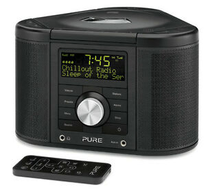 pure chronos cd series 2 dab fm cd stereo alarm clock radio black with remote. Black Bedroom Furniture Sets. Home Design Ideas
