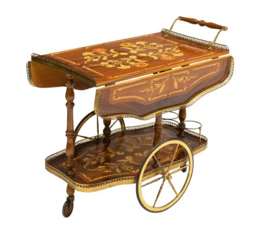 Service Cart, Italian Floral Marquetry, Vintage / Antique, Charming!!