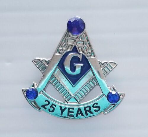 Masonic 25 year service lapel pin silver blue stone at the top Mason