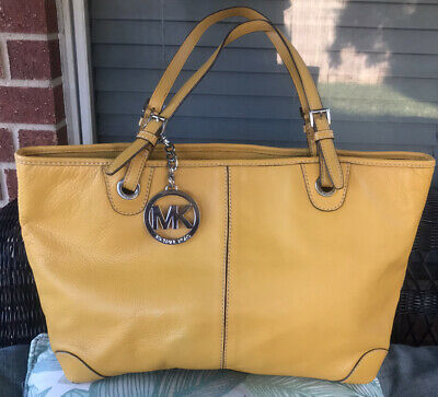 Michael Kors Light Orange Yellow Large Shoulder Leather Tote Handbag