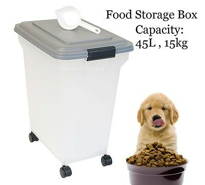 Pet Food Storage Container Cat Dog Box Large 45L 15kg Capacity Bin Wheels Scoop